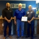Stanley Durman, Branch Manager at Jenkins Restorations was nominated for a Patriot Award by Staff Sgt. Eady for Durman's support of Eady's service in the Air National Guard.  The award was presented by Employer Support of the Guard and Reserve Outreach Coordinator John Glynn.